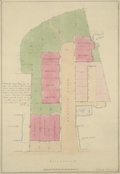 [Plan of the houses, stables and gardens in Hamilton Place, belonging to the Crown]